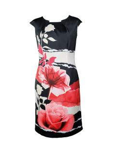 Kleid, black/red/taupe