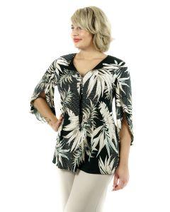 Shirt,black/beige/taupe