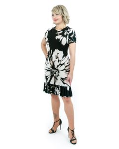 Kleid,black/rosé/white