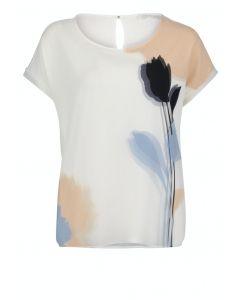 Bluse,cream/blue/beige