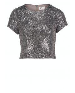Paillettenshirt,light grey